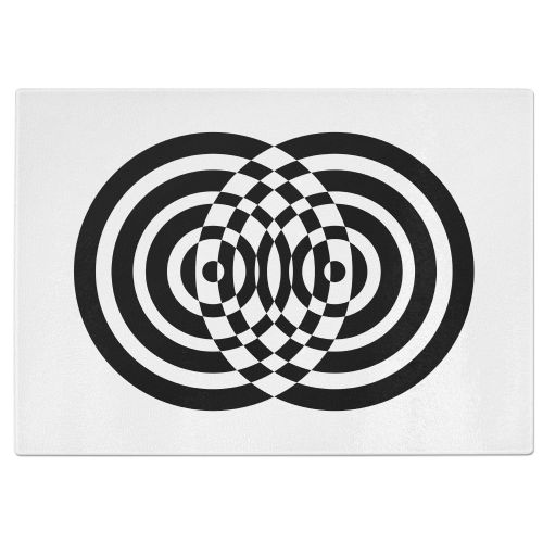 Circles Tempered Glass Chopping Board - White